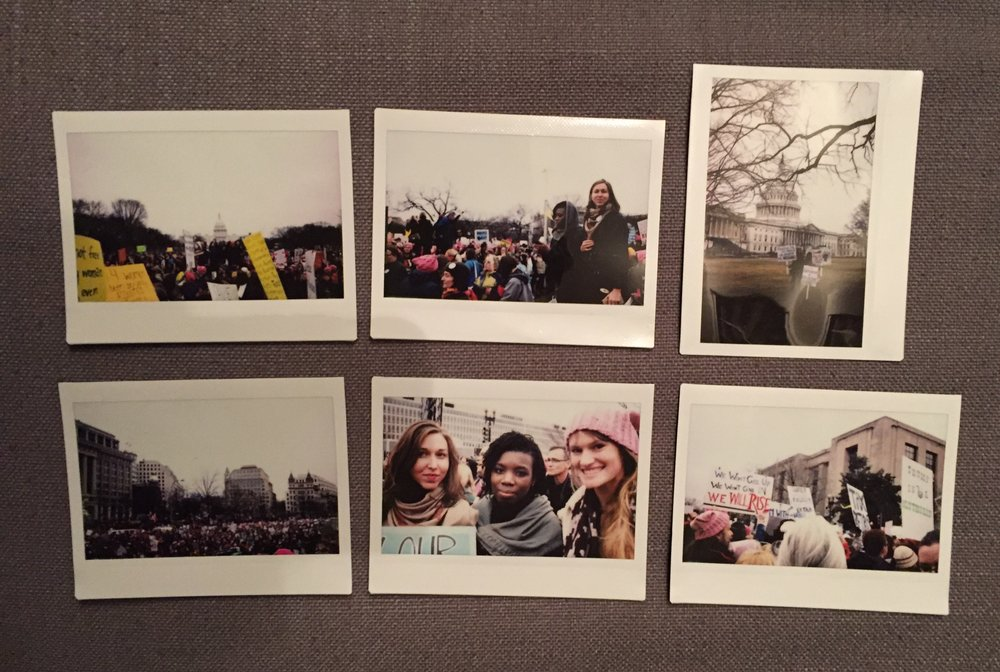 Fujifilm instax 300 wide photos I took on during the rally and march on January 21st, 2017.