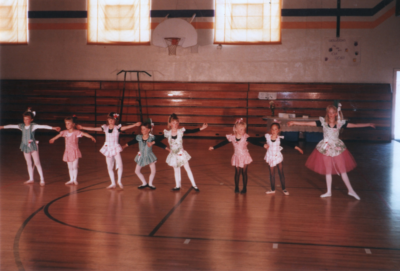 Little ballerina Ciara in kindergarten; pictured second from the right.