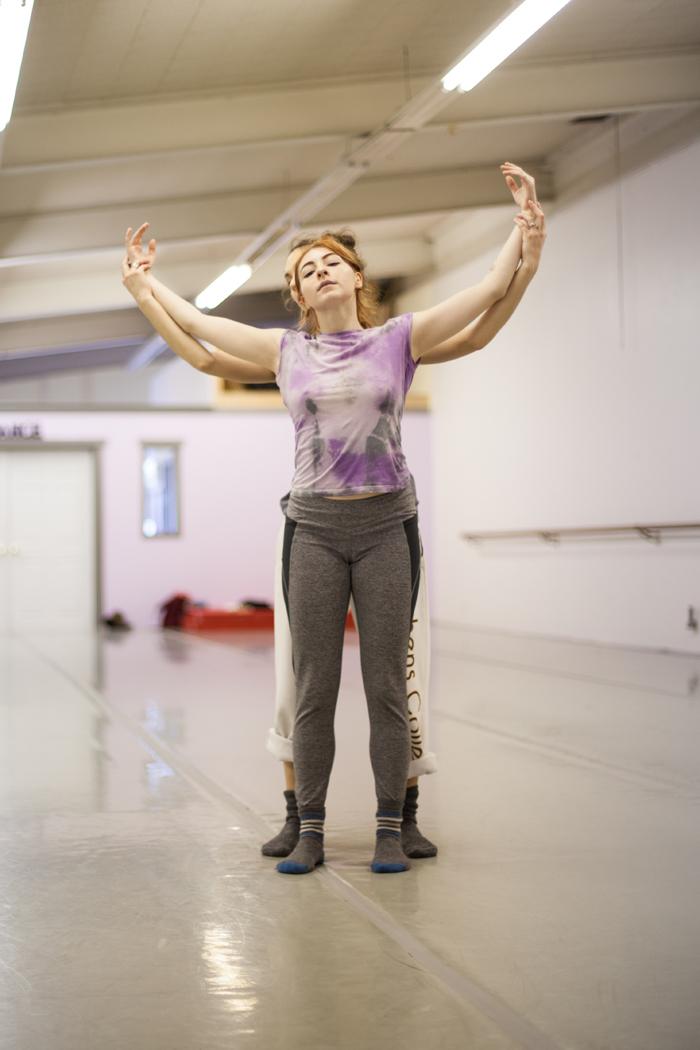 "Intrepidus dancers Elise Landles (front) & Ciara McCormack Greenwalt in rehearsals for ""Kindling."""