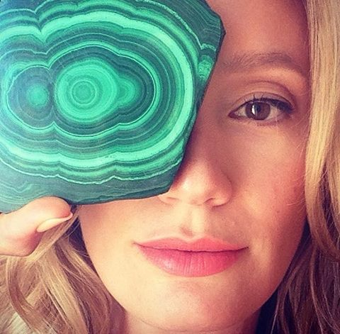 My lovely friend Heather, modeling her malachite.  http://www.heatherlacombe.com