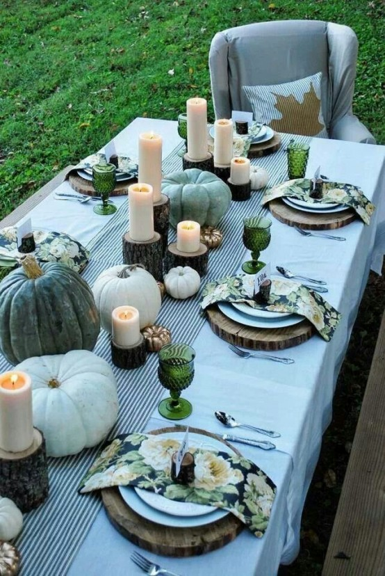 Green-glasses-floral-napkins-and-black-and-white-striped-table-runner-for-thanksgiving-table-decor-ideas-in-green-yard-for-ideas.jpg