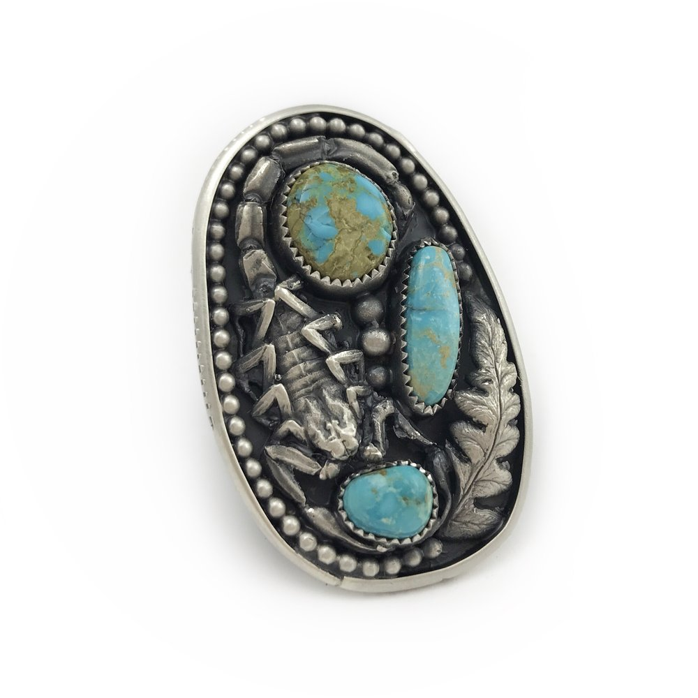 Scorpion Turquoise Statement Ring