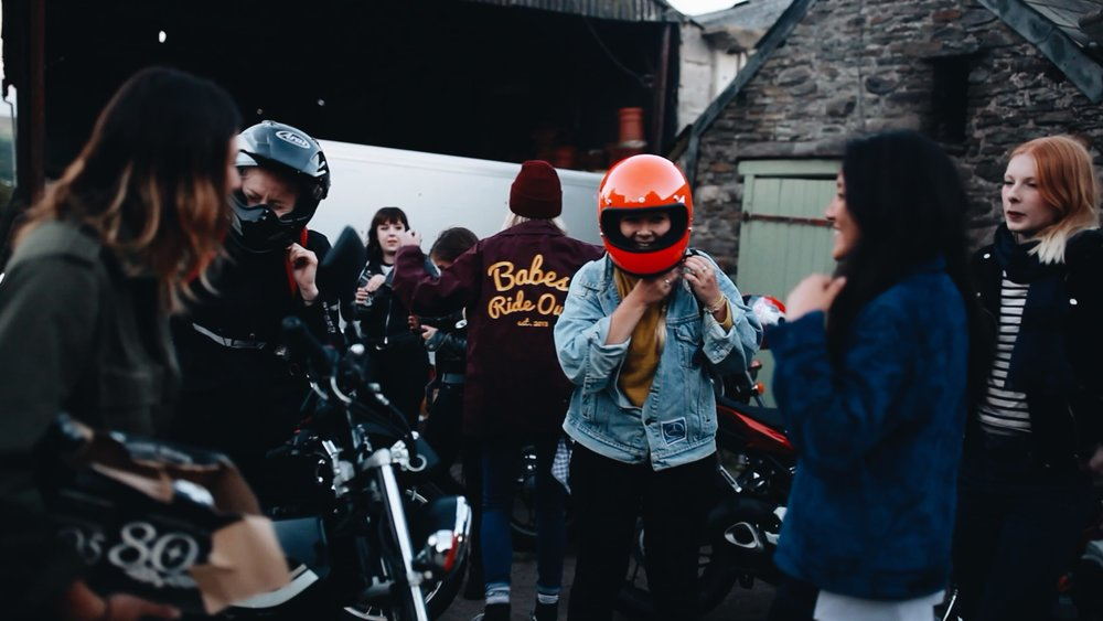 The first group of riders getting ready to follow the waterfall route.