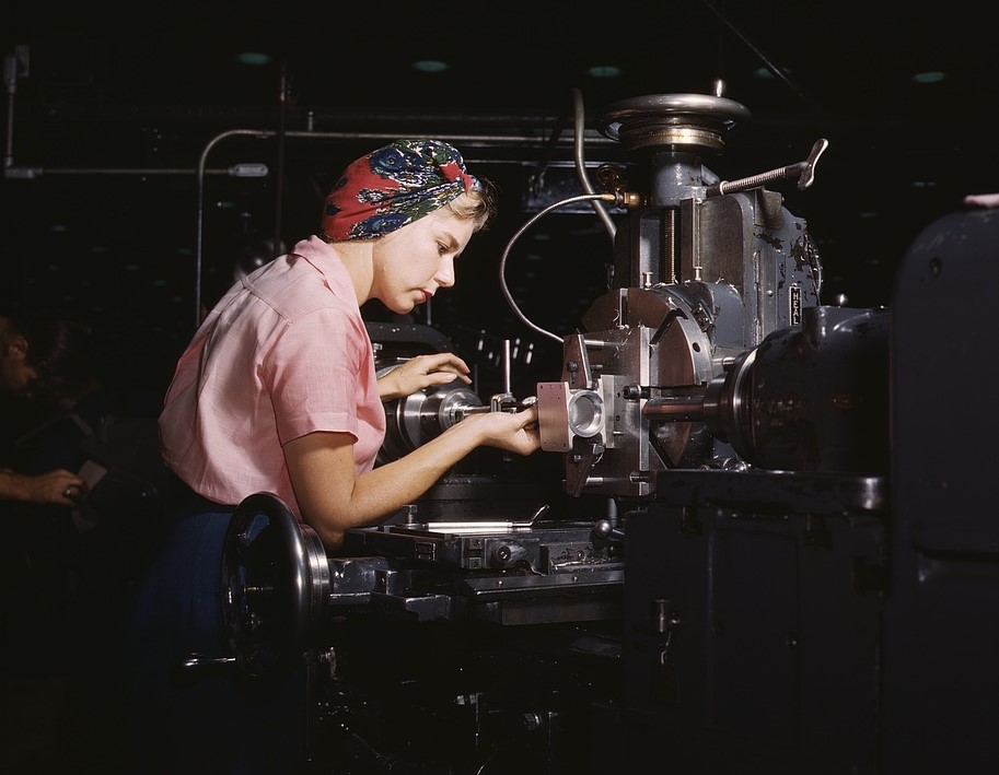 Women become skilled shop technicians after careful training in the school at the Douglas Aircraft Company plant, Long Beach, California. Photographer: Alfred T. Palmer