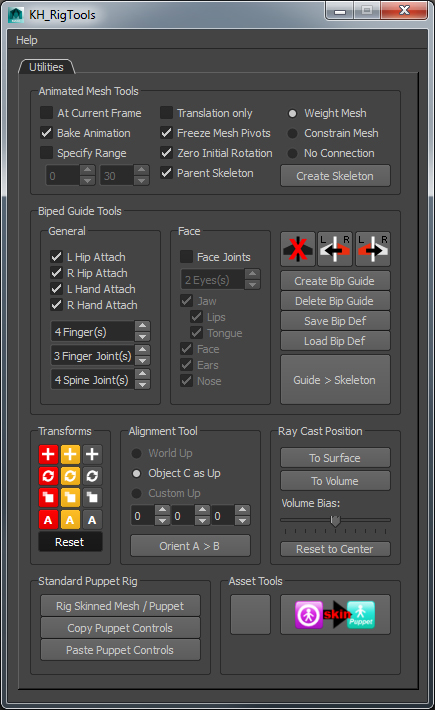 Custom Rig Tools interface