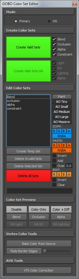 Custom Vertex Colour tools and Manager interface