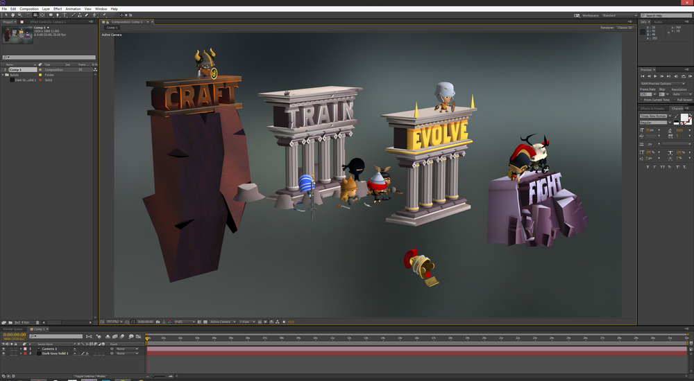 Assembling some 3D elements within an AE comp using Element 3D. These are actually composed of OBJ sequences as they contain character animation