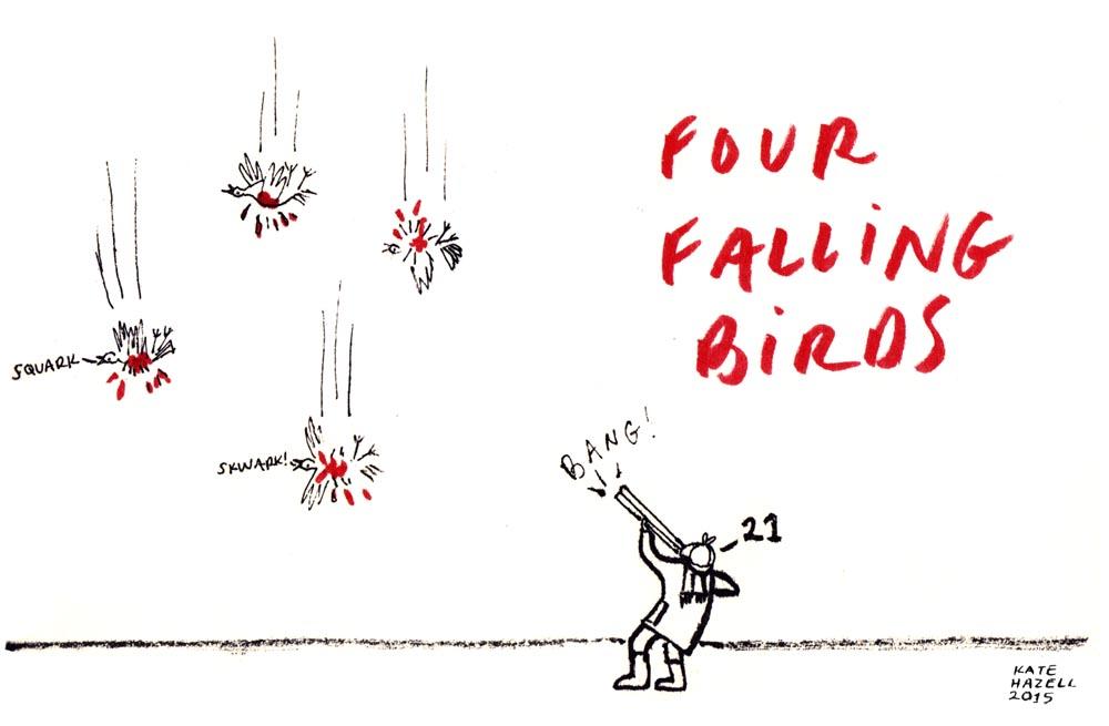 21.Four falling birds KATE HAZELL_BADVENT 2015.jpg