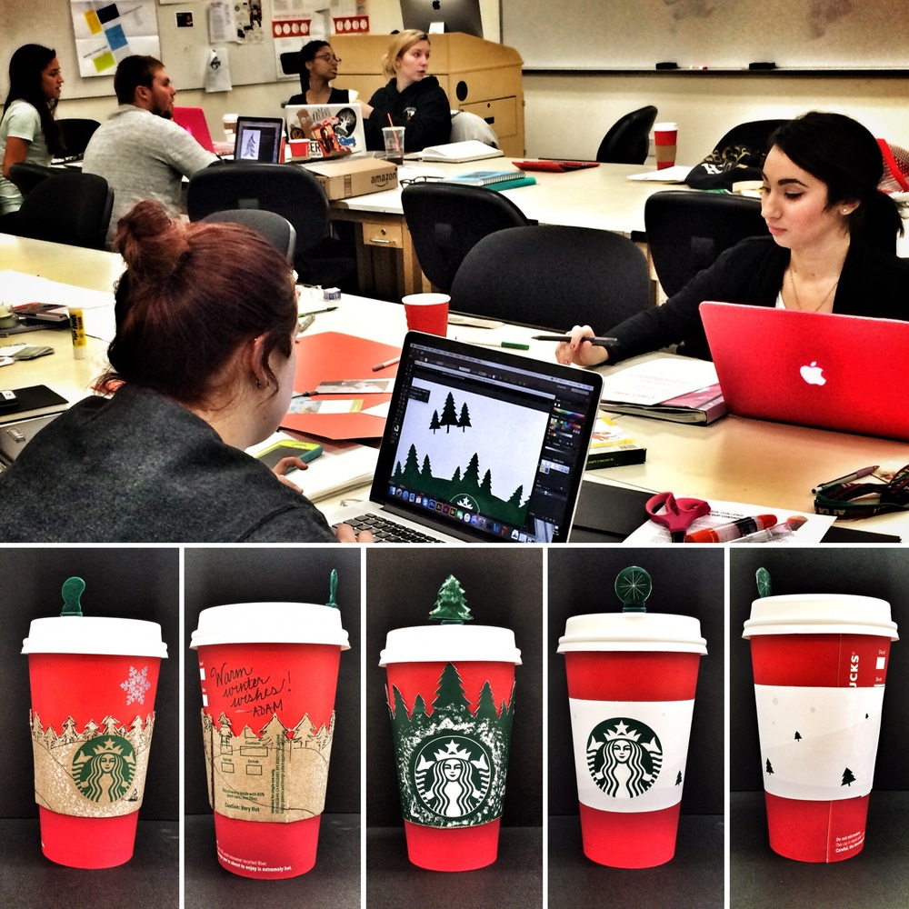 "At Towson University I brought design thinking methods into the classroom to address a variety of short and longer term projects, including this fun ""Starbucks Red Cup Challenge"" where the students had 2 hours to address the perceived lack of cheer on the cups Starbucks had just released for the holiday season. With each challenge, the process proved to be more engaging and more successful than the last and over the course of the semester I noticed the students begin to independently engage the processes they had been taught to great effect. Most surprisingly, for the first time in over a decade of teaching, I found that I was able to get creative students to not only successfully work together in groups but to LIKE it! Working in teams can be a true challenge for any creative, but it is such an important skill to master. I'm already looking forward to next semester!"