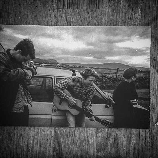 Print from way back,Winter '95. Making friends by the battered ol' Ford Fiesta that took us from Kernow to Ireland,on the first mission in a lifetime of journeys of all kinds on the Emerald Isle.