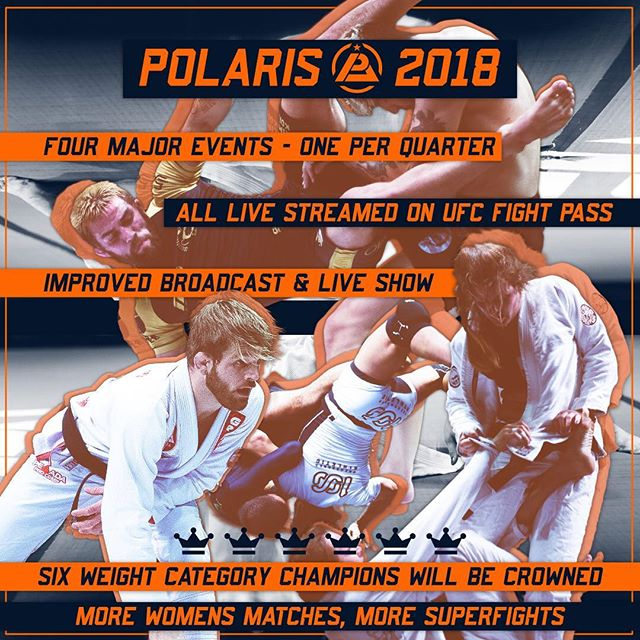 Polaris has big plans for 2018! • We will be holding four major events, one per quarter. Every event will be broadcast through our partners @ufcfightpass. • Over the year we will hold tournaments across four new male weight classes and two female weight classes, culminating in the crowning of six Polaris grand champions. • We plan to improve the live experience for those of you who come down to join us in the venue, as well as the broadcast for viewers at home. • And, as always, we will be putting on the best superfights in grappling. • Our website is currently undergoing an upgrade but stay up to date with our social media accounts in the meantime. . . . #Polaris #Pro #Polaris5 #P5 #Projiujitsu #Professional #Grappling #BJJ #BrazilianJiujitsu #JiuJitsu #Sub #Submission #Event #Gi #NoGi #Newaza #Judo #Wrestling #MMA #Sports #Fitness #Active #Fight #UFC #MartialArts