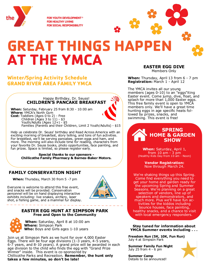Check out everything that's happening at the Y!