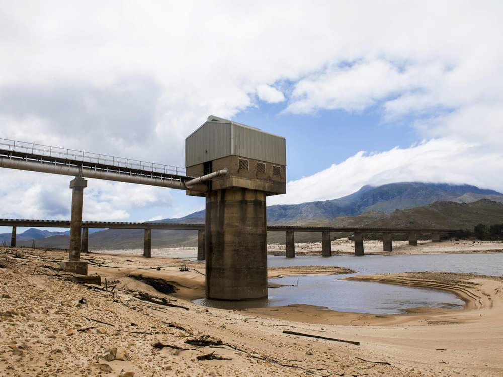 The Theewaterskloof dam was so low that it threatened to force Cape Town to turn off most of its taps (AP)