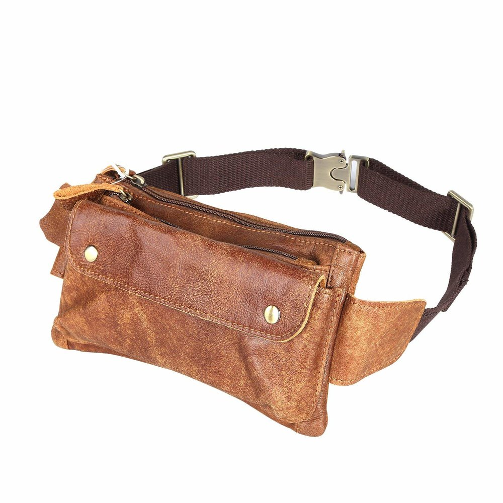 Loyofun Unisex Brown Genuine Leather Waist Bag