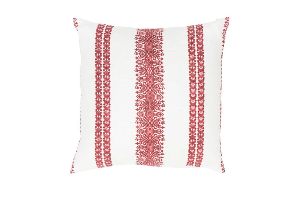 Abbot Atlas cycladic stripe red fabric linen printed pillow cushion