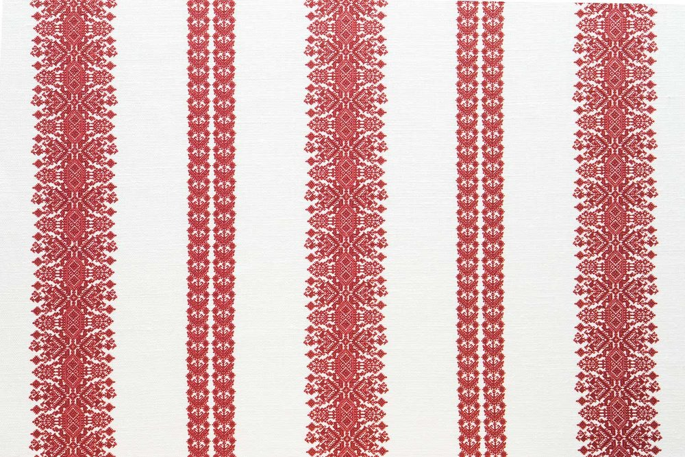 Abbot Atlas cycladic stripe red fabric linen printed