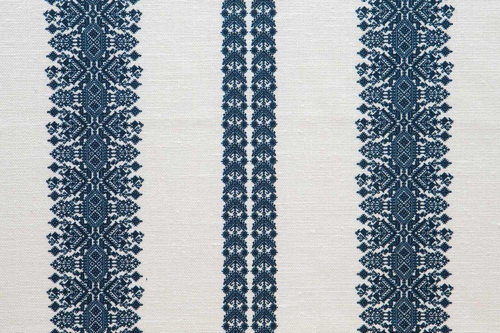 Abbot Atlas cycladic stripe blue fabric linen printed