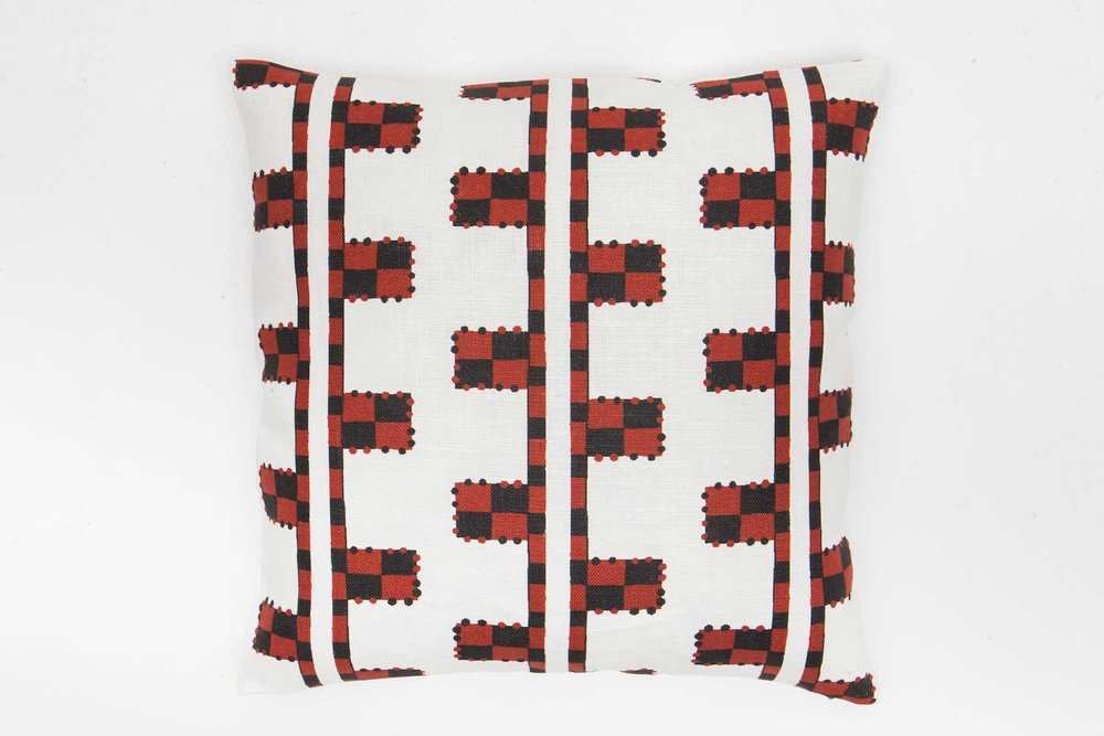 Abbot Atlas karpathos ladder red fabric linen printed pillow cushion