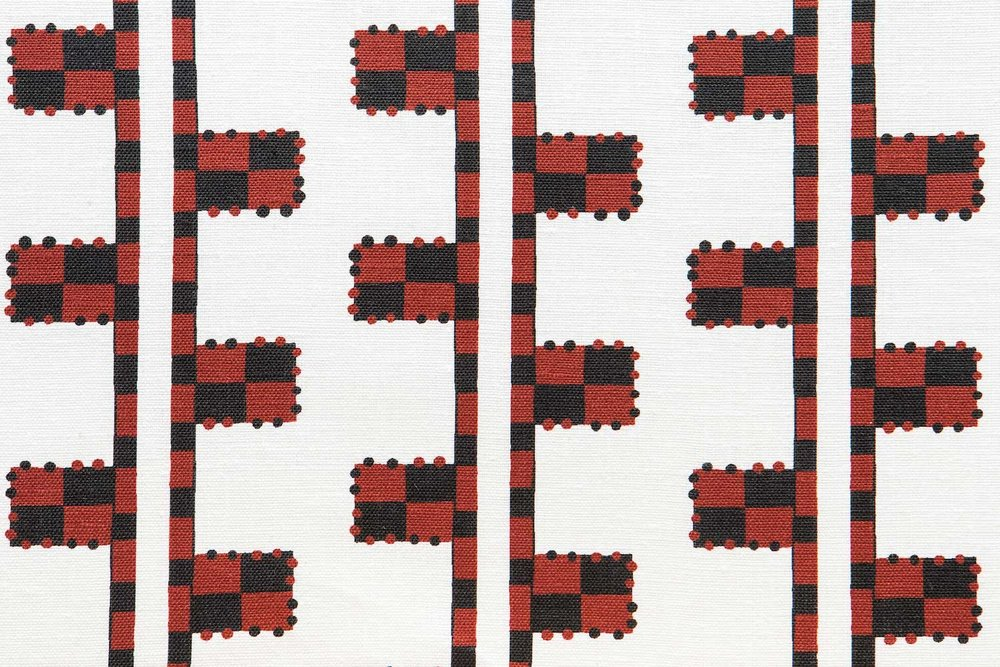 Abbot Atlas karpathos ladder red fabric linen printed
