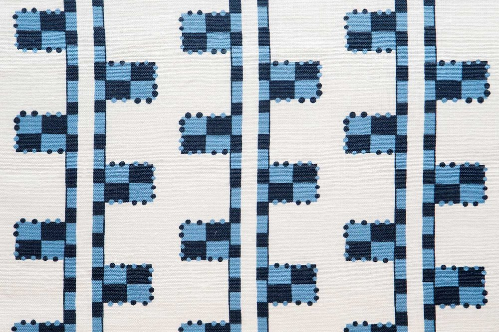 Abbot Atlas karpathos ladder blue fabric linen printed