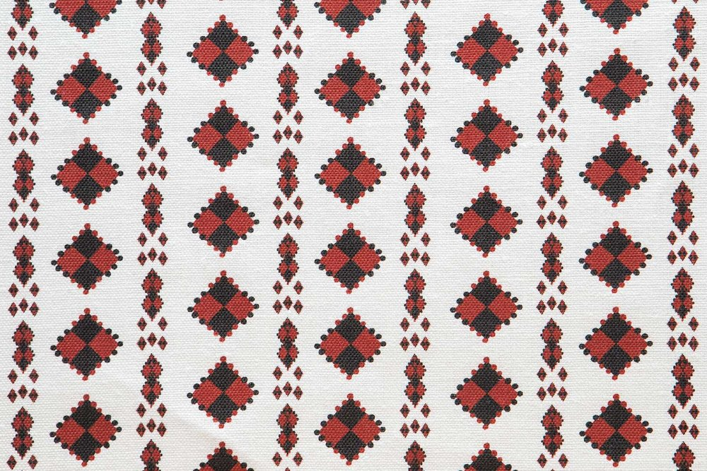 Abbot Atlas karpathos diamond red fabric linen printed