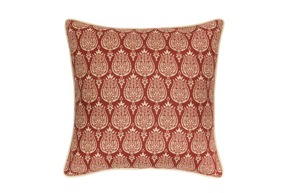 Abbot Atlas ottoman tulip red fabric linen printed pillow cushion