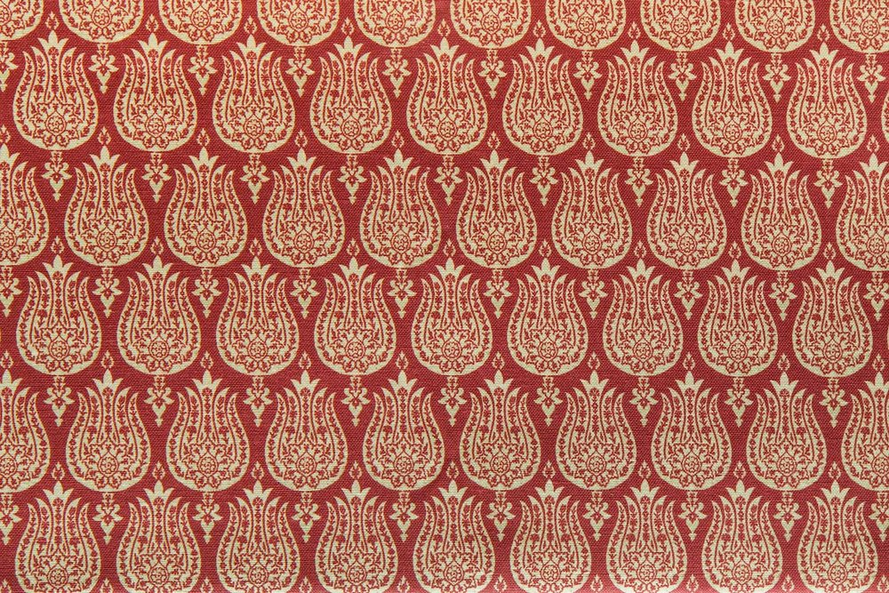 Abbot Atlas ottoman tulip red fabric linen printed