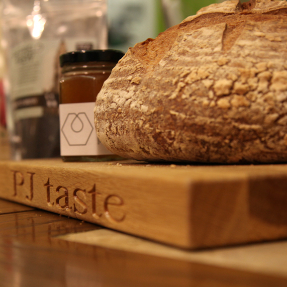 PJ taste fresh baked bread with Sheffield Honey