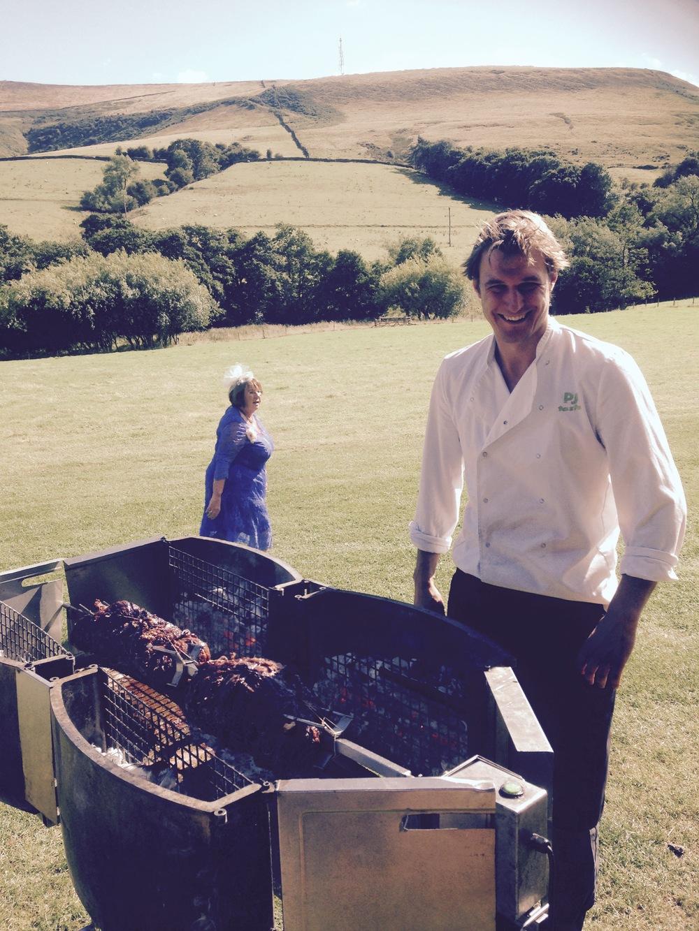 Lamb roast over charcoal