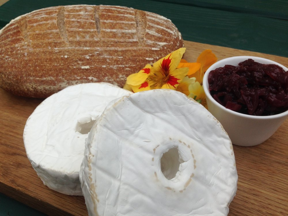 Beautifully ripe stanage millstone cheese with pj taste sourdough and red onion marmalade