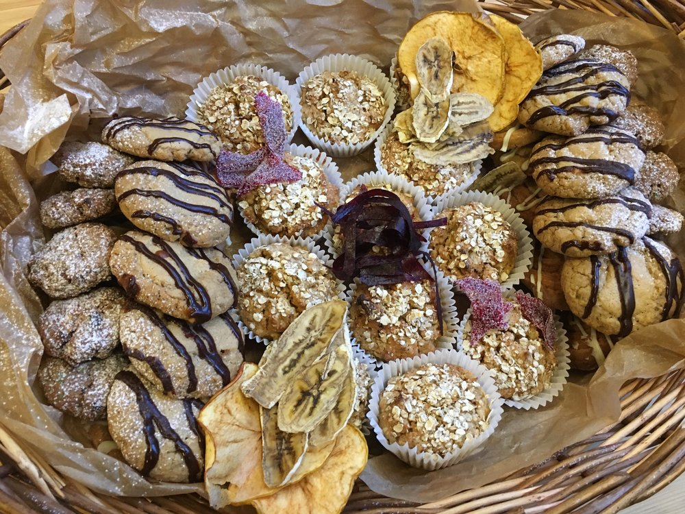 Basket of fresh baked muffins and biscuits for the conference delegates