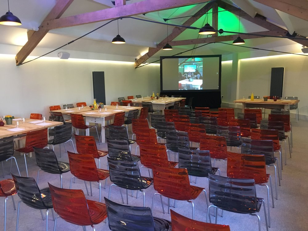Meeting room set up with theatre style chairs