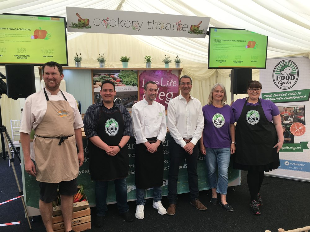Chris Hanson from Blend Sheffield, and Lee Mangles from PJ taste line up with representatives from Food Cycle and compère Justin Rowntree from SweetSpot Hospitality Consulting