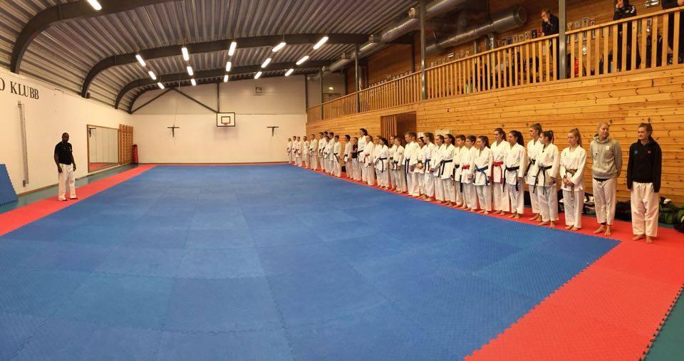 Hele stammen samlet før felles treningen på søndag.