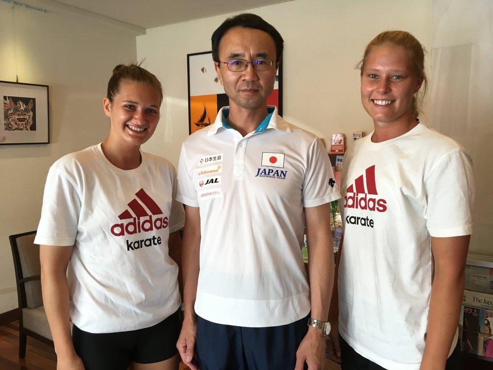 Jeg og Lotte sammen med den Japanske landslagstreneren Mr Hayashi.