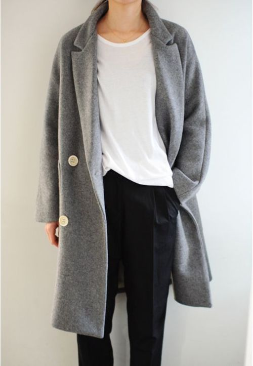 Veste grise oversized. Inspiration via  Pinterest .