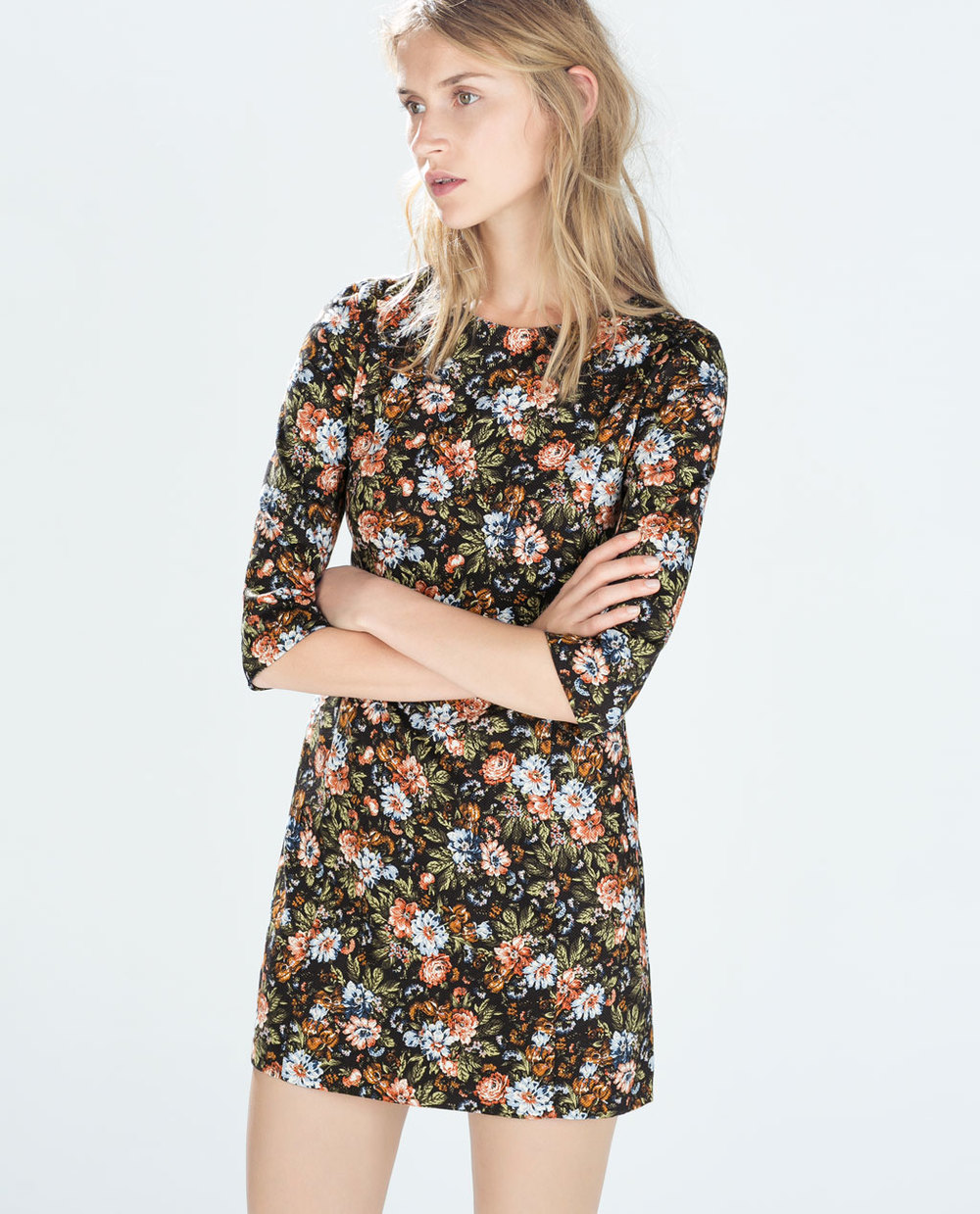 robe-droite-imprimee-zara-fleurs