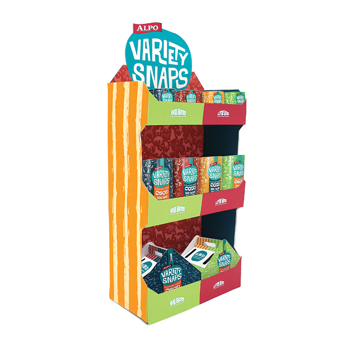 The POP's aim is to emphasize the treats in an appealing way in the store. It is 55in high and 25 in across.  The bulk packaging will go at the bottom, the 32 oz on the middle shelf, and the 16 oz will go on the top. The stripes on the side were an addition to try to add variation of pattern. It can also be seen on my bulk packaging.
