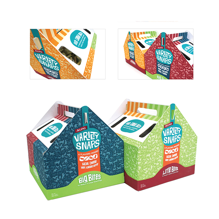 The bulk packaging comes in two variations. There is a box for Big Bites and a box for Little Bites. The box shape seems doghouse-like, and is a refreshing change of pace from the oval. There is 10 clear 32oz bags on the inside to keep the product fresh, and the customer can view the product through the peepholes on the side.