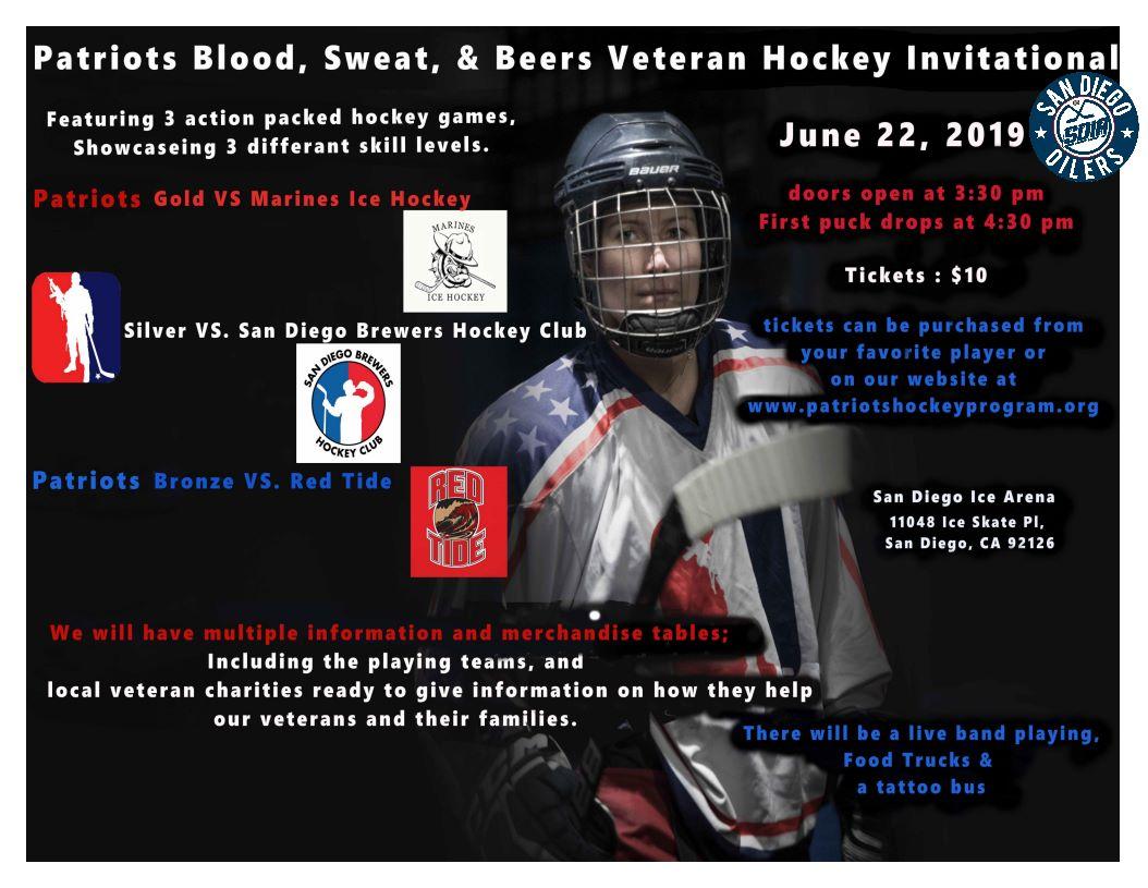 Patriots Blood Sweat Beers Veteran Hockey Invitational Mission 22