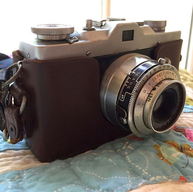 This is one of my most prized possessions. Last Christmas, Mom gave us some of Dad's things that she thought would have meaning for us. This is his first camera. He bought it in his late teens and with it he documented his life and ours. He photographed himself, his parents, his siblings and their kids, my mom when they were dating and us as little kids. He left us such a gift in these photos. I'm especially missing him this Father's Day and I wish he was here with us so I could tell him just how much he, his camera, and the hundreds of photos he left us means to me.