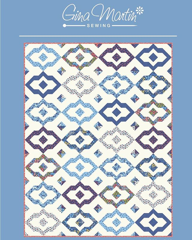 This is the 4th quilt pattern designed for my next fabric collection, Lazy Days. I call this pattern City Market because it reminds me of vintage tile floors. I think it looks great in a monochromatic color scheme! #lazydaysfabric #ginamartinquilts #patchwork #quiltpattern #quilting #showmethemoda