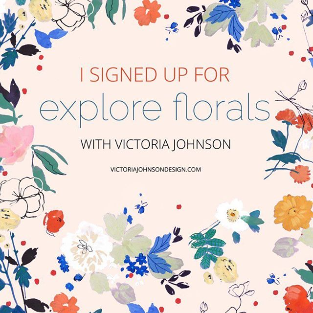I've not taken any of the myriad classes offered by artists on line these days, but I did sign up for this one. I'm an assignment driven designer so I'm looking forward to the briefs and trying something different. I'll post my progress! #exploreflorals @victoriajohnsondesign