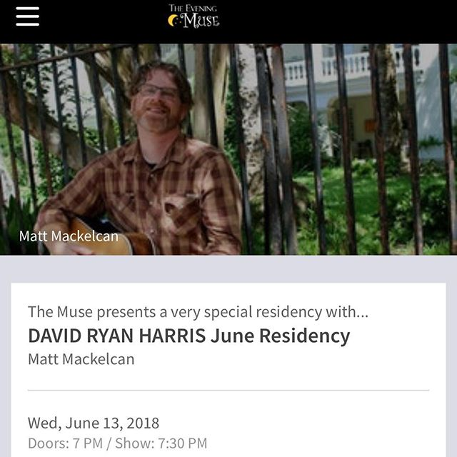 #Charlotte Excited to return to @eveningmuse to open for the amazing @drh3 Join us for a great night of music. Tickets on sale now! #livemusic #singersongwriter #findyourmuse