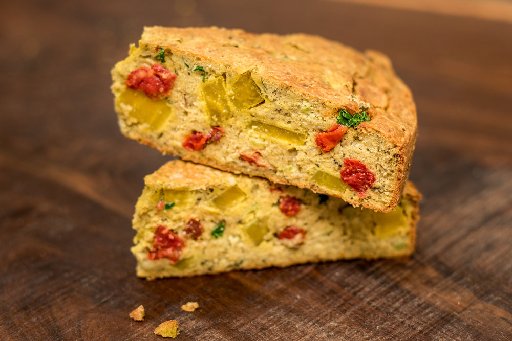 Copy of Gluten-free Kale Pesto, Sundried Tomato & Beet Farinata