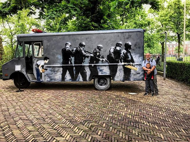 Banksy Swat Van  #thedutch #thenetherlands #dutch #amsterdam #imagesforyoursenses #streetphotography #traveler #pictureoftheday  @momomuseum #banksy #streetart #streetphotography #graffiti #graffitiporn #fatherson @eastvillagekid