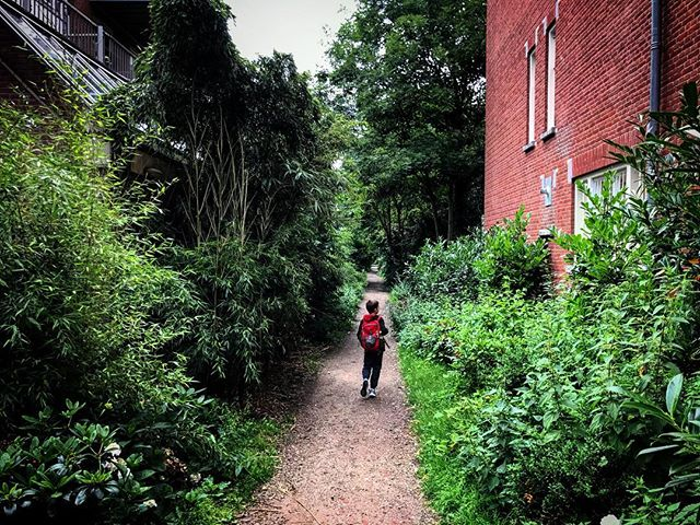 Exploring unknown trails.  This one fortunately dead ended at a house that could have had Dracula himself living there.  We looked at each other for a split second before taking off in a hurried sprint back to civilization.  #thedutch #thenetherlands #dutch #amsterdam #imagesforyoursenses #streetphotography #traveler #pictureoftheday  #fatherson #exploring