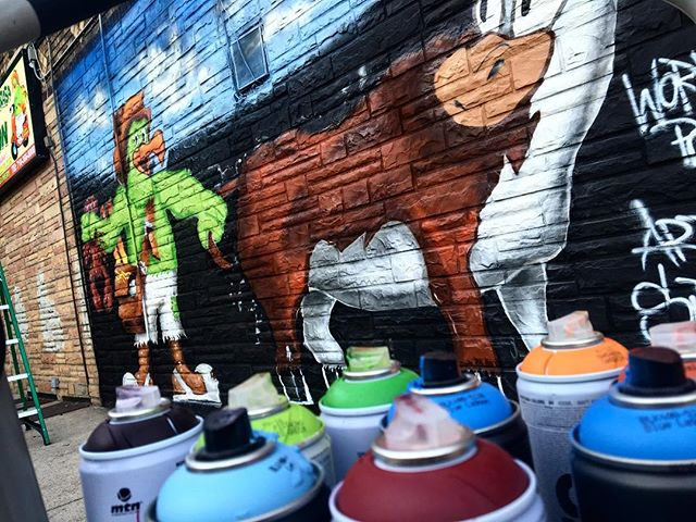 Commission graffiti Art Mural for Pollos Marion in #Ridgewood #brooklyn #graff #graffiti #art #mural #characters #chicken #cow #chick #eggs #food #fun #restaurant #commission #artmural #nygeaffiti #sketch #graffiti sketch #graffitimural #graffitiadvertisement