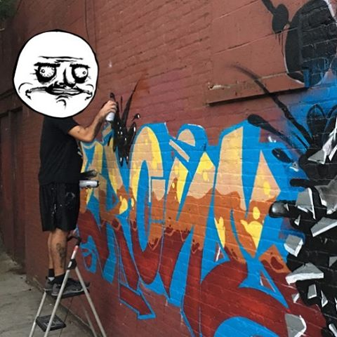 Full production shot coming soon, I love posing for the camera, @my_stylez_tuff great shot! #graff #graffiti #nycgraffiti #crone #graffitiart #straightlettets #brooklyn #outlines #graffitipiece #pieceing #montanacand #montana94 #gettinup #toptobottom #fills #graffiticans