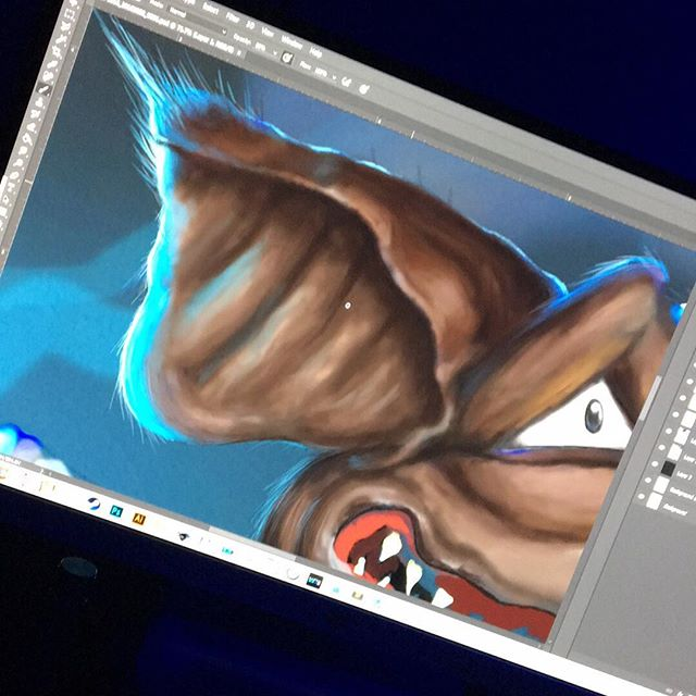 I cant stop painting. No matter the medium. I have to paint! Heres the beginning of my newest design for TShirts. I wasn't a real big fan of digital painting, but scanning my canvases wasn't getting me quality results. plus carrying 6 foot canvases in NYC isn't easy stuff. STAY TUNED! #digitalpainting #wacom #tablet #stylus #digitalart #intuos #intuosdraw #intuosart #character #technique #learning #art #wacomtablets #styluspainting #paintingwithstylus #streetart #painter #finearts #newerror #photoshoppainting #paintinginphotoshop #essywayout
